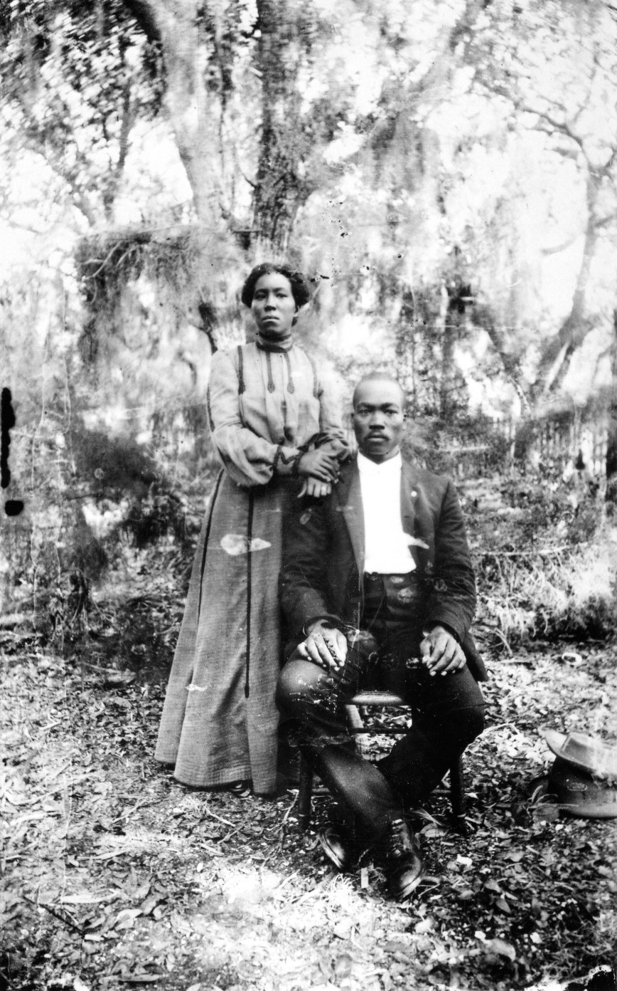 In this photograph we see two of Sarasota's earliest black residents, Irene and Louis Colson.   Lewis Colson was a well respected citizen, known as Reverend Colson.  He had been with a group of land surveyors who had platted Sarasota in 1895.  In 1897, for one dollar, he sold to the trustees of Bethlehem Baptist Church, the property on Central and 7th Street on which the Bethlehem Baptist Church was built.  He was the first minister of the church serving from 1899 until 1918.  He and his wife Irene are the only African-Americans to be buried in Rosemary Cemetery.
