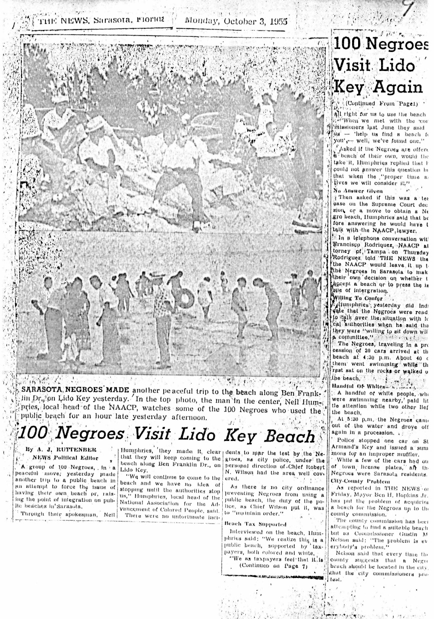 Article about beach segregation from Sarasota Herald Tribune