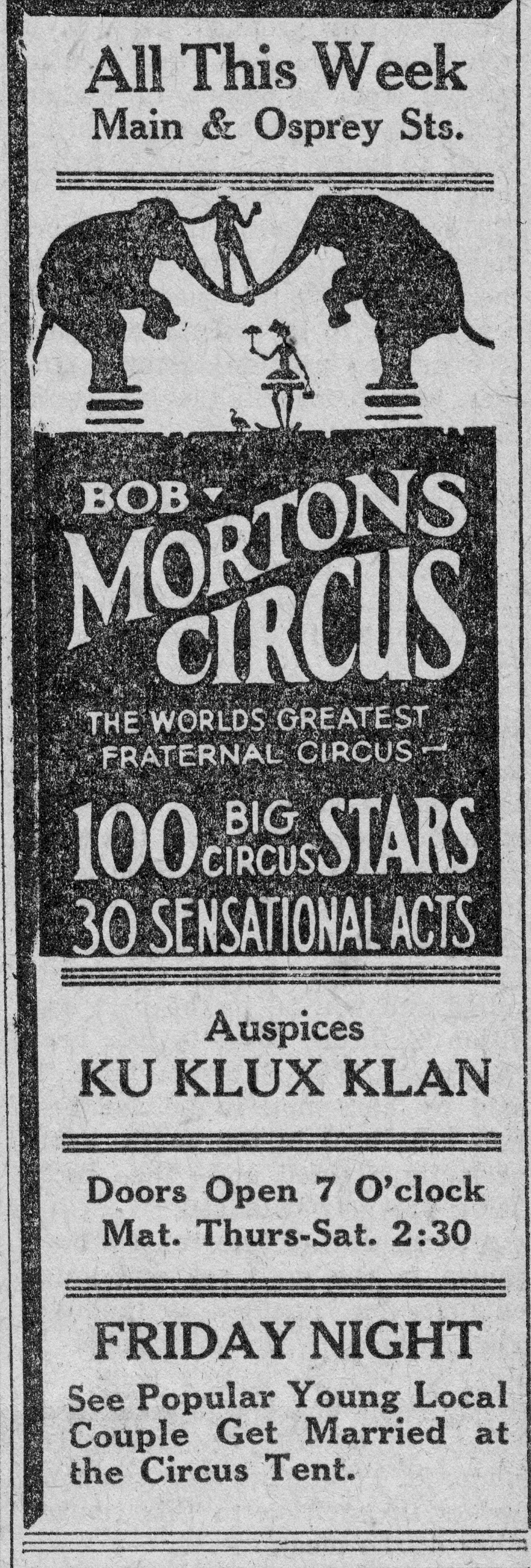 Sarasota is well known for its circus traditions, but few are aware of the Ku Klux Klan's influence on Sarasota's circus history. Sarasota's branch of the Ku Klux Klan sponsored a circus in 1926.  The circus celebration involved nominating a Miss Sarasota and a costumed march down Main Street.  The parade members (354 men and 82 women) were not dressed in traditional circus garb; they were local Klan members and were outfitted in white Klan hoods and robes.  Giant crosses set ablaze led the parade festivities.