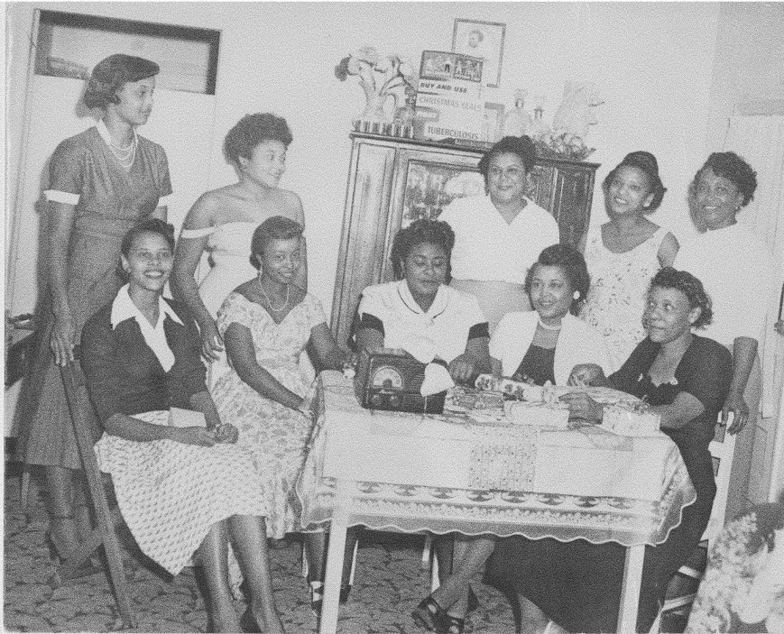 Charmettes' Women's Club. Lee Suarez (center seated), was president. Circa 1940's.